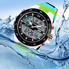 Da uomo Orologio da polso Quarzo Quarzo giapponese LED Calendario Cronografo Resistente all'acqua Due fusi orari Silicone Banda Di lusso