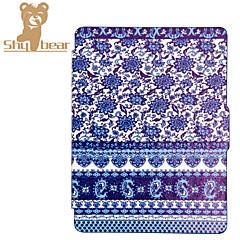 el caso de cuero elegante de la cubierta protectora para el tacto impresa Kobo 2.0 (2015) porcelana azul y blanca caso del ereader del