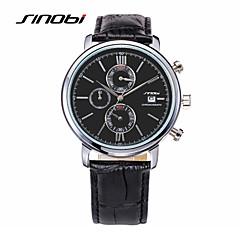 SINOBI Męskie Sportowy Zegarek na nadgarstek Kwarcowy Kalendarz Wodoszczelny Sportowy Skóra Pasmo Czarny Black