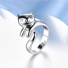 Lureme®  Korean Fashion 925  Sterling Silver  Lovely Panda Cuff Rings