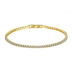 Simple Fashion Women's  Rhinestones Imitated Gold Plated Tin Alloy Tennis Bracelet(Golden,Rose Gold)(1Pc)