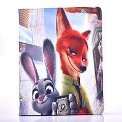 hullu eläimet kuvio PU nahka kotelo jalustalla ja korttipaikka ipad ilma / ipad 5