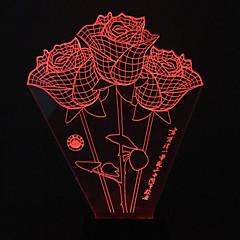 visivo 3d rose di colore che cambia la decorazione della lampada da tavolo USB regalo luce variopinta di notte