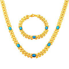Green Turquoise Stone Fashion Trendy 18K Stamp Gold Plated Trendy Necklace&Bracelets 50CM Christmas Gift NB60054