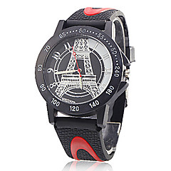 New I love Paris Eiffel Tower han edition imitation leather watch Male and female students table Cool Watch Unique Watch