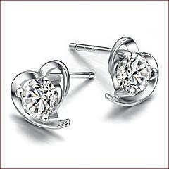 Heart Shape Κουμπωτά Σκουλαρίκια Κοσμήματα Γυναικεία Καρδιά Γάμου Πάρτι Καθημερινά Causal Αθλητικά Ασήμι Στερλίνας Ζιρκονίτης 1pc
