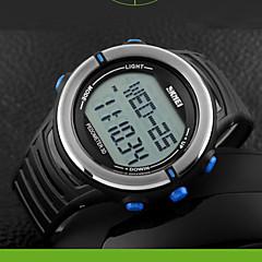 Herre Dame Unisex Sportsur Digital Watch Digital LCD Pulsmåler Kalender Kronograf Vandafvisende Dobbelte Tidszoner Sportsur PU BåndSølv