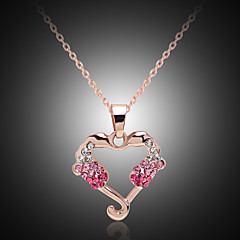 Lucky Doll Crystal / Alloy / Rhinestone / Gold Plated Heart Necklace Pendant Necklaces Party / Daily 1pc