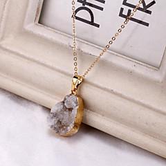 Irregular crystal gold gilt edging female agate pendant necklace
