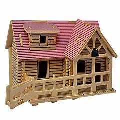 Puzzle Zabawki 3D / Drewniane puzzle Cegiełki DIY Zabawki Dom Drewno Złoty Model / klocki