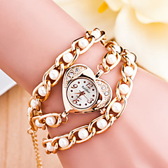 Women's Diamond Heart Pearl Quartz Analog Bracelet Watch(Assorted Colors)