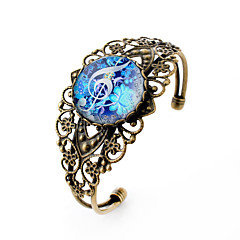 Lureme® Vintage Jewelry Time Gem Series Fluorescent Color Flowers with Musical Note Hollow Flower Open Bangle for Women