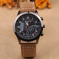 Men's Fashion Watch Round Black Plate Personality Wild Casual PU Leather Quartz Watch