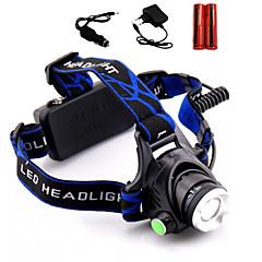 Valaistus Otsalamput LED 2000 Lumenia 3 Tila Cree XM-L T6 18650Säädettävä fokus / Vedenkestävä / ladattava / Iskunkestävä / Hätä /
