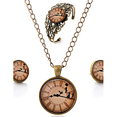 Lureme® Time Gem Series Vintage Clock with Dancer Pendant Necklace Stud Earrings Hollow Flower Bangle Jewelry Sets