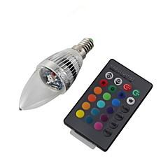 3W E14 LED 캔들 조명 C35 1 고성능 LED 240 lm RGB 리모컨 작동 / 장식 AC 220-240 / AC 110-130 V 1개