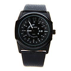 Herren Beobachten Quartz Modeuhr Kalender Leder Band Armbanduhr