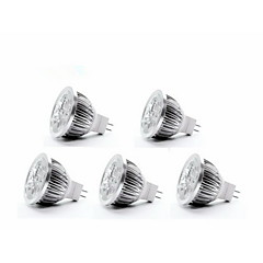 5W GU5.3(MR16) LED Spotlight MR16 4 350-400 lm Warm White DC 12 V 5 pcs
