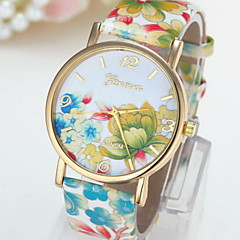 Women's Fashionable Leisure Geneva Rose Print Quartz Watch Leather Band Cool Watches Unique Watches