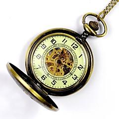 Męskie Zegarek kieszonkowy zegarek mechaniczny Nakręcanie automatyczne Grawerowane Stop Pasmo Złoty