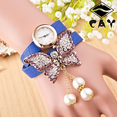Women's  European Version Of The 2 Circle Butterfly Pearl Chain Gold Watch(Assorted Colors) Cool Watches Unique Watches