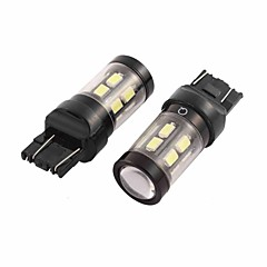 2 Pcs 7443 7440 White 15 SMD LED Error Free Brake Turn Signal Light Bulb for Car