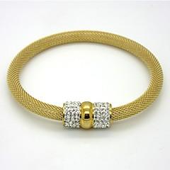 Bracelete 1pç,Dourado / Cor de Rosa / Preto / Prateado Pulseiras Aço Inoxidável / Chapeado Dourado Jóias Feminino
