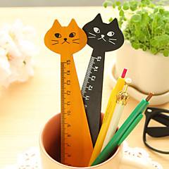 1PC Creative Wood Straight Ruler Lovely Cat Shape Ruler Office Supplies Gift for Kids School Supplies 15cm(Style random)
