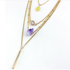Modische Halsketten Anhängerketten / Y-Ketten Schmuck Party / Alltag / Normal Krystall / Aleación Goldfarben / Gelb / Lila 1 Stück