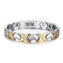 Magnetic Therapy Bracelet for Arthritis Pain Relief and Sports Related Silver-Stone Gold-Stone Love Stainless Steel Fashion Jewelry Gift