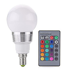 3W E14 LED Globe Bulbs A60(A19) 1 COB 240LM lm RGB Dimmable / Remote-Controlled / Decorative AC 85-265 V 1 pcs