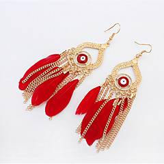 Drop EarringsJewelry 1 pair Black / Red / Blue Alloy / Feather Wedding / Party / Daily