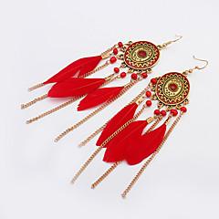 European Style Fashion Ethnic Vintage Netal Oval Feather Chain Tassel Drop Earrings