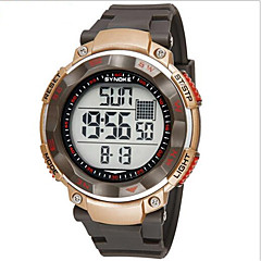 Herr Armbandsur Japansk kvartsur LCD / Kalender / Kronograf / Vattenavvisande / alarm / Självlysande Gummi Band Blå / Grön / Guld Stämpla-