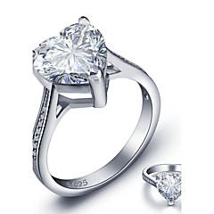 Damskie Obrączki Serce Modny Kamienie zodiakalne biżuteria kostiumowa Srebro standardowe Heart Shape Biżuteria Na Ślub Impreza Casual