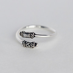 S925 Silver Antique Vintage Band Midi Rings Adjustable Open Ring Jewelry