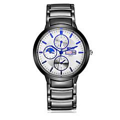 Herren Armbanduhr Quartz Kalender Wasserdicht Armbanduhren für den Alltag Edelstahl Band Schwarz Schwarz