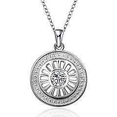 Dame Kort halskæde Halskædevedhæng Erklæring Halskæder Cirkelformet Geometrisk form Sølv Zirkonium Kvadratisk Zirconium Mode Hvid Smykker