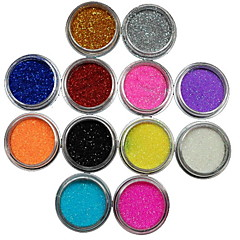 12Pcs Colors Glitter Powder Nail Art Decoration