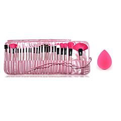 24pcs makyaj ahşap sapı allık / vakıf / toz / gölge / astar fırça kozmetik seti ve küçük makyaj süngeri fırçalar