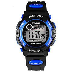 SYNOKE Dziecięce Zegarek na nadgarstek Cyfrowe LCD Kalendarz Chronograf Wodoszczelny alarm Świecący Guma Pasmo Czarny