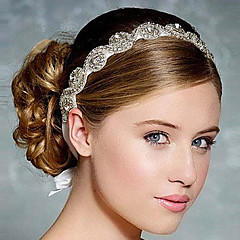 Full Crystal Ribbon Satin Lace Up Headband for Wedding Party Lady Hair Jewelry