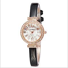 SYNOKE Women's Fashion Watch Simulated Diamond Watch Quartz Japanese Quartz Casual Watch Leather Band Black Red Pink