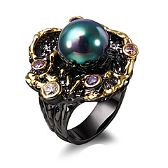 Elegant Flower Fresh water pearl Cubic Zirconia 18K Gold & Black Plated Luxury rings for women