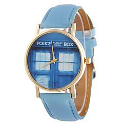 дамы моды кварца мультфильма полиции коробки кожаный ремень индивидуальность модные часы релаксации