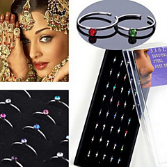 40PCS C Shape  316L Stainless Steel Nose Rings & Studs Nose Piercing Ring Body Jewelry (1 Box)