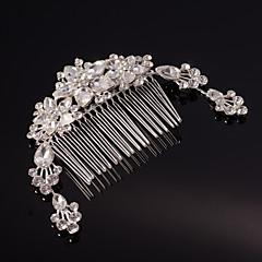 웨딩 파티 여성을위한 실버 / 골드 잎 꽃 모양의 크리스탈 진주 머리 빗