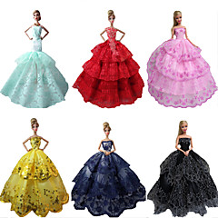 Party/Evening Dresses For Barbie Doll Red / Black / Pink / Yellow / Ink Blue / Cyan Dresses For Girl's Doll Toy