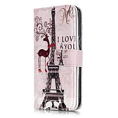 tårn i paris mønster ni kort præget pu læder telefon taske materiale til galaksen s3 / s4 / S5 / S6 / s6 kant / s7 / s7 kant
