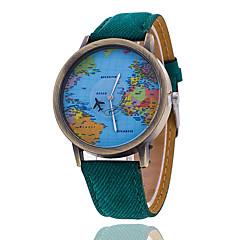 Męskie Zegarek na nadgarstek Kwarcowy Na codzień Tkanina Pasmo Mapa Świata Wzorzec Czarny Biały Black Yellow Czerwony Green Niebieski